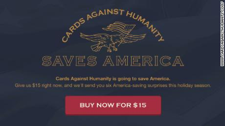 cards against humanity saves america