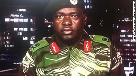 Maj. Gen. Sibusiso Moyo on November 15 announces the military's takeover of power.