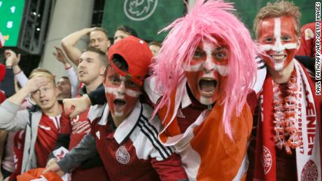 Denmark fans celebrate after their team secure a place at next year's World Cup in Russia.
