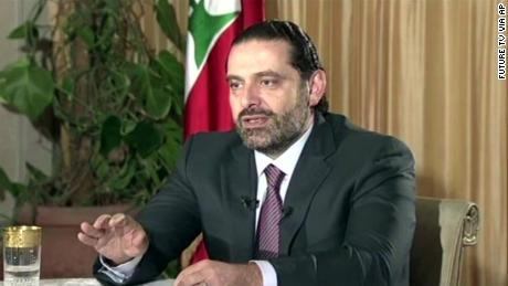 "Lebanon's Prime Minister Saad Hariri gives a live TV interview in Riyadh, Saudi Arabia, Sunday Nov. 12, 2017,  saying he will return to his country ""within days"".  During the live TV interview shown on Future TV, Harari said he was not under house arrest in Saudi Arabia, and that he intends to return to Lebanon to withdraw his resignation and seek a settlement with rivals in the coalition government, the militant group Hezbollah. (Future TV via AP)"