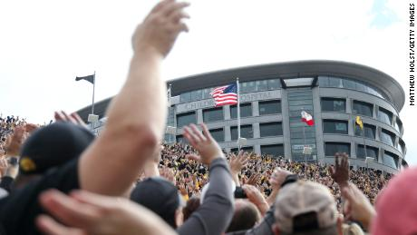 IOWA CITY, IOWA- OCTOBER 07:   Fans wave to children at the University of Iowa Stead Family Children's Hospital after the first quarter of the Iowa football game against the Illinois Fighting Illini on October 7, 2017 at Kinnick Stadium in Iowa City, Iowa.  (Photo by Matthew Holst/Getty Images)