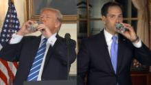 Trump sips water during speech like Rubio