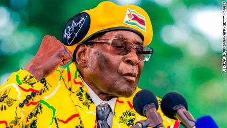Zimbabwe's President Robert Mugabe addresses party members and supporters gathered at his party headquarters to show support to Grace Mugabe becoming the party's next Vice President after the dismissal of Emerson Mnangagwa November 8 2017.