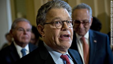 Senator Al Franken, a Democrat from Minnesota, speaks during a news conference after a weekly Democratic luncheon meeting at the U.S. Capitol in Washington, D.C., U.S., on Tuesday, July 11, 2017. Majority Leader Mitch McConnell said he's delaying the Senate's August recess by two weeks after divided lawmakers have been unable to agree on how to revise health-care legislation he proposed to replace Obamacare. Photographer: Andrew Harrer/Bloomberg via Getty Images