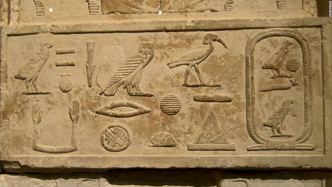 Hieroglyphs from the tomb of Senenuka, an architect from the time of Khufu. The name of Khufu can be seen within the oval shape to the right.