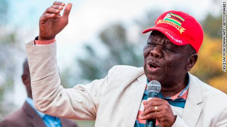 Zimbabwean opposition leader Morgan Tsvangirai at a rally in Harare on August 5, 2017.
