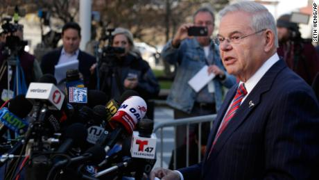 Democratic Sen. Bob Menendez speaks to reporters in front of the courthouse in Newark, N.J., Thursday, Nov. 16, 2017. The federal bribery trial of Menendez ended in a mistrial Thursday when the jury said it was hopelessly deadlocked on all charges against the New Jersey politician and a wealthy donor. (AP Photo/Seth Wenig)