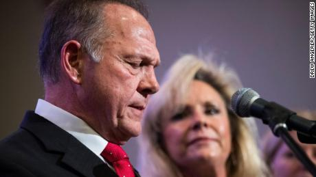 BIRMINGHAM, AL - NOVEMBER 16: Republican candidate for U.S. Senate Judge Roy Moore speaks as his wife Kayla Moore looks on during a news conference with supporters and faith leaders, November 16, 2017 in Birmingham, Alabama. Moore refused to answer questions regarding sexual harassment allegations and pursuing relationships with underage women. (Drew Angerer/Getty Images)