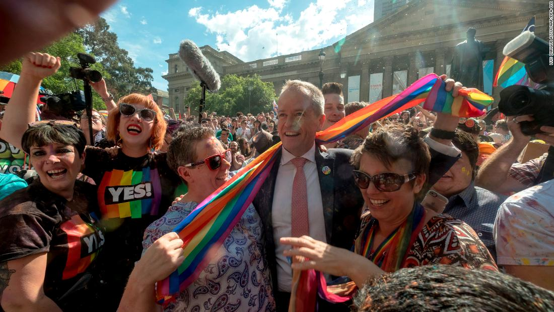 "Australian opposition leader Bill Shorten joins celebrations in Melbourne on Wednesday, November 15, after it was announced that the country <a href=""http://www.cnn.com/2017/11/14/asia/australia-same-sex-marriage-yes/index.html"" target=""_blank"">had voted in favor of same-sex marriage.</a>"