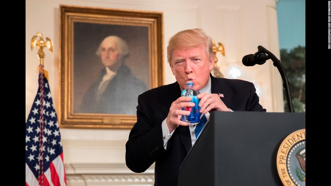 "US President Donald Trump takes a sip of water as he <a href=""http://www.cnn.com/2017/11/15/politics/trump-asia-trip-statement/index.html"" target=""_blank"">delivers an address</a> in the White House on Wednesday, November 15. The sip gave Sen. Marco Rubio <a href=""http://www.cnn.com/2017/11/15/politics/marco-rubio-donald-trump-water-bottle/index.html"" target=""_blank"">a chance for some payback on Twitter.</a> During last year's presidential campaign, Trump mocked Sen. Marco Rubio for sipping water during a televised speech in 2013."