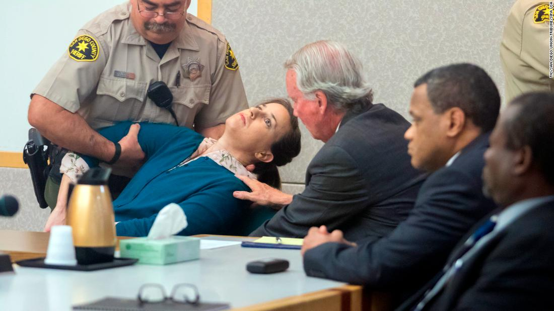 "Diana Lovejoy faints in a courtroom in Vista, California, after <a href=""http://www.sandiegouniontribune.com/news/courts/sd-no-murderforhire-verdict-20171113-story.html"" target=""_blank"">she was convicted</a> of attempted murder and conspiracy to commit murder on Monday, November 13. Authorities said Lovejoy was part of a botched murder-for-hire plot that targeted a man who is now her ex-husband. He was shot, but he survived."