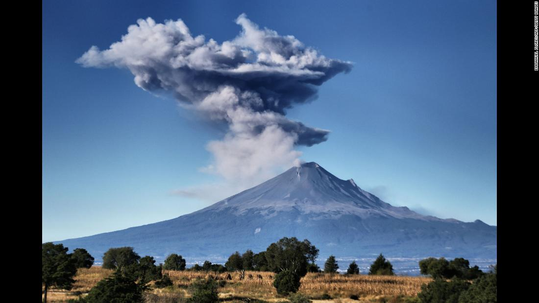 Ash spews from Mexico's Popocatepetl volcano on Friday, November 10.