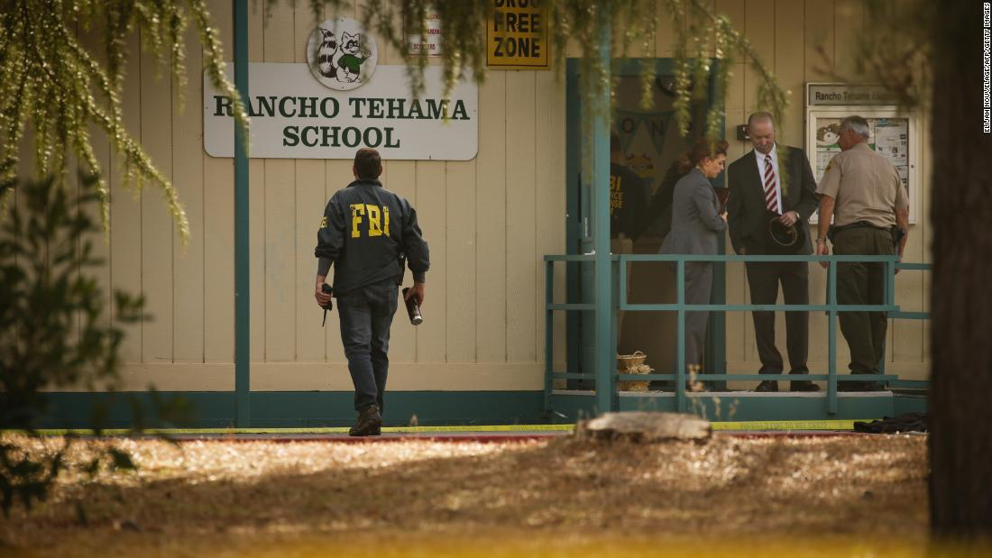 "FBI agents are seen outside an elementary school after a shooting in Rancho Tehama, California, on Tuesday, November 14. A gunman <a href=""http://www.cnn.com/2017/11/15/us/california-tehama-county-shootings/index.html"" target=""_blank"">killed five people in the remote community,</a> but a much bigger death toll was averted when he was <a href=""http://www.cnn.com/2017/11/14/us/california-tehama-county-shootings/index.html"" target=""_blank"">unable to break into the elementary school.</a> The shooter, Kevin Neal, was killed by police at another site."