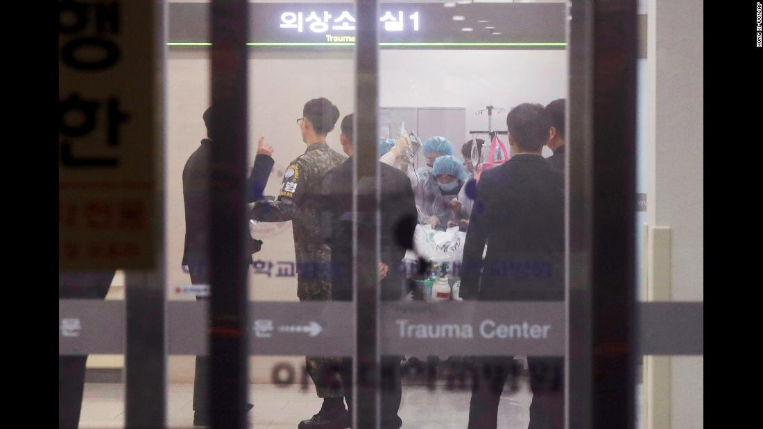 "Medical care is given to an injured person, believed to be a North Korean soldier who defected, at a hospital in Suwon, South Korea, on Monday, November 13. The soldier <a href=""http://www.cnn.com/2017/11/15/asia/north-korea-soldier/index.html"" target=""_blank"">was shot five times by his former comrades</a> as he staged a daring break across the demilitarized zone."