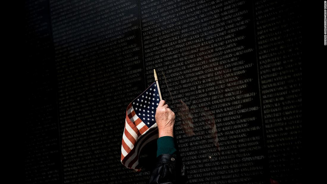 "A man points to a name while visiting the Vietnam War Memorial in Washington on Friday, November 10. Veterans Day fell on a Saturday this year. <a href=""http://www.cnn.com/2017/11/09/world/gallery/week-in-photos-1110/index.html"" target=""_blank"">See last week in 27 photos</a>"
