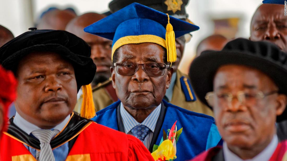 "Mugabe arrives to preside over a student graduation ceremony at Zimbabwe Open University in November 2017. It was his first public appearance since the military <a href=""http://www.cnn.com/2017/11/15/africa/gallery/zimbabwe-political-unrest/index.html"" target=""_blank"">seized control of the nation</a> and placed him under house arrest."