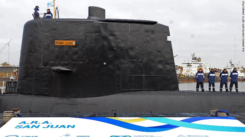 The ARA San Juan submarine, pictured in May 2014, is delivered to the Argentine navy after repairs.
