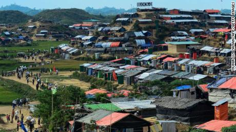 General view of the Thankhali refugee camp in the Bangladeshi district of Ukhia on November 15, 2017.