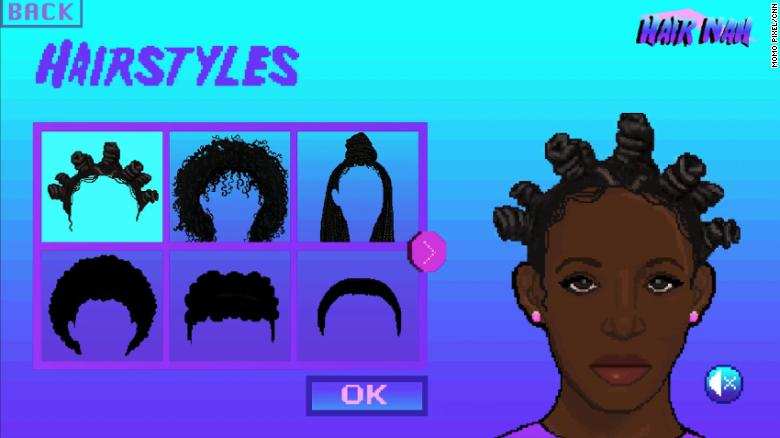 There are 12 hair options to choose from, including styles such as bantu knots, an afro and locs.