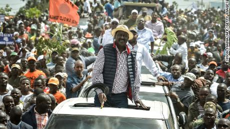 Kenya's opposition party National Super Alliance (NASA) leader Raila Odinga looks on during a demonstraiton on November 17, 2017 in Nairobi.