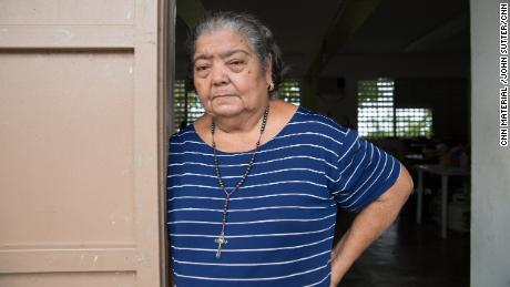 Paula Guzmán still lives in a shelter in an elementary school.