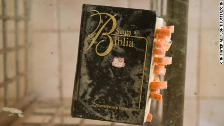 A Bible is one of few artifacts left in Juan Robles' home.