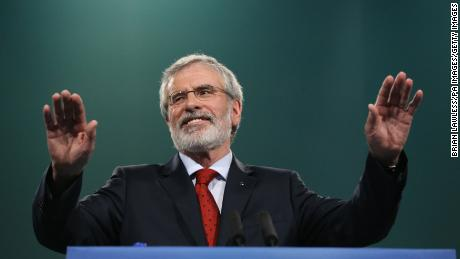 Sinn Fein President Gerry Adams addresses the Sinn Fein annual conference.