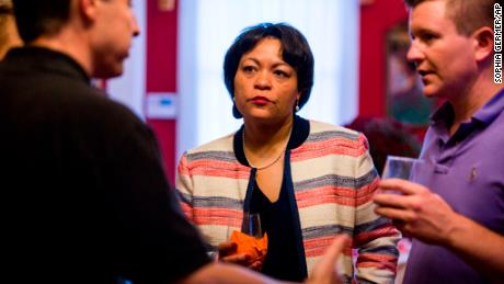 FILE - In this Sept. 22, 2017 file photo, New Orleans mayoral candidate LaToya Cantrell listens to donors at the home of Robert Ripley in New Orleans. On Saturday, Nov. 18, 2017, Cantrell and former municipal Judge Desiree Charbonnet were in a runoff that would determine which one would become the first woman elected to serve as New Orleans' mayor. (Sophia Germer/The Advocate via AP)