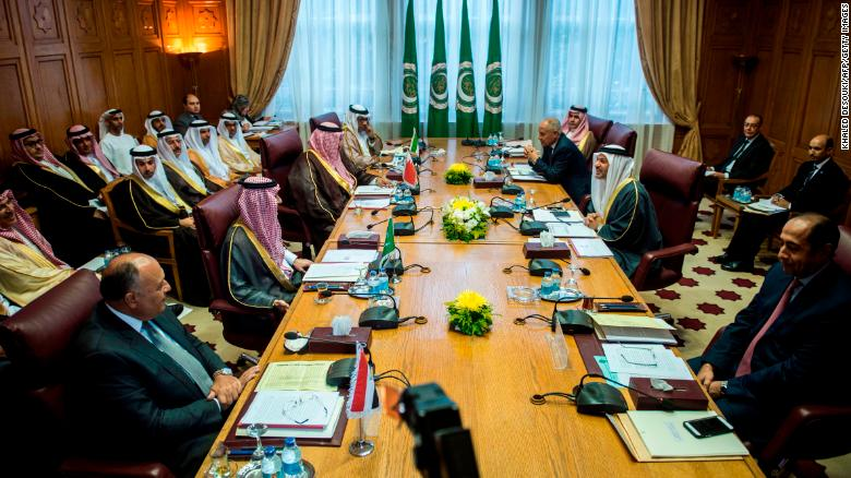 Arab ministers attend a meeting at the Arab League headquarters in Cairo on Sunday.