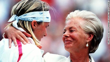 Novotna is consoled by the Duchess of Kent