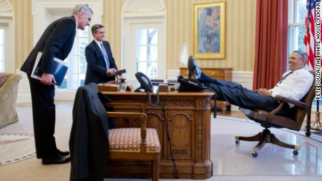 See anything outrageous here? President Obama was accused of disrespecting the presidency for putting his feet on the Oval Office desk.