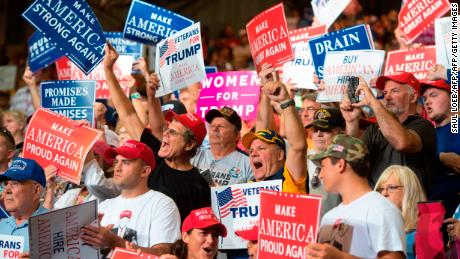 Supporters cheer as US President Donald Trump speaks during a Make America Great Again Rally at Big Sandy Superstore Arena in Huntington, West Virginia, August 3, 2017. / AFP PHOTO / SAUL LOEB        (Photo credit should read SAUL LOEB/AFP/Getty Images)