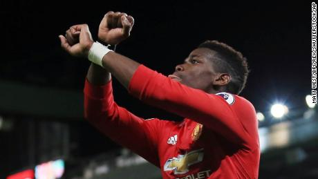 Paul Pogba of Manchester United celebrates scoring his goal to make it 3-1 Manchester United v Newcastle United, Premier League, Old Trafford, Greater Manchester, UK - 18 November 2017 (Rex Features via AP Images)