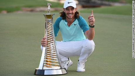 DUBAI, UNITED ARAB EMIRATES - NOVEMBER 19:  Tommy Fleetwood of England poses with the Race to Dubai trophy during the final round of the DP World Tour Championship at Jumeirah Golf Estates on November 19, 2017 in Dubai, United Arab Emirates.  (Photo by Ross Kinnaird/Getty Images)
