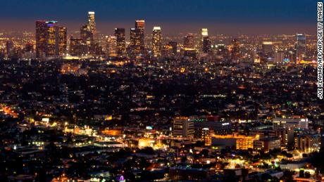 The Los Angeles skyline is seen during twilight on August 21, 2013 in California.