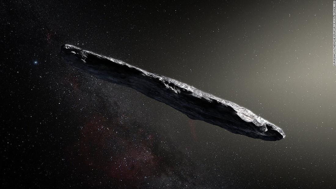 'Oumuamua, the first observed interstellar asteroid, is shown in an artist's illustration. It is longer and varies more in brightness than any asteroid to be formed in our solar system.