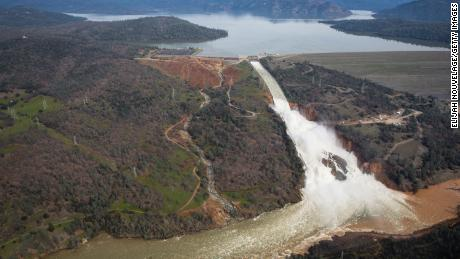 Oroville Lake, the emergency spillway and the damaged main spillway on February 13, 2017.