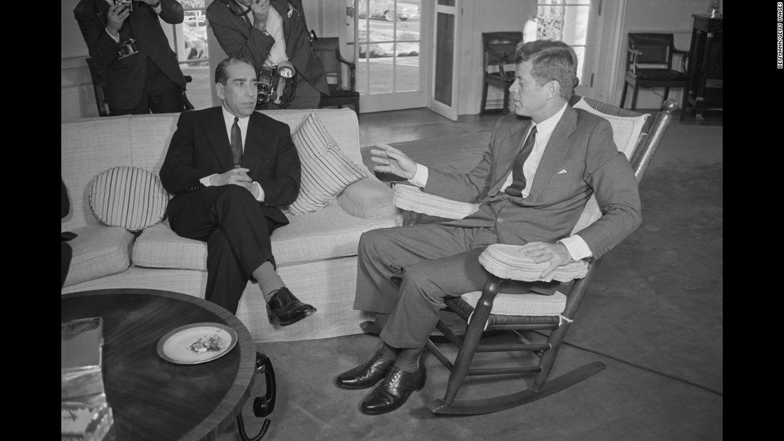 John F. Kennedy, our nation's youngest president, had a host of medical conditions that plagued him since childhood. Here, Kennedy entertains Alberto Franco Nogueira, the foreign minister of Portugal, while sitting in the rocking chair his doctor ordered to support his excruciatingly painful lower back. The photo was taken November 7, 1963, just two weeks before he was assassinated.