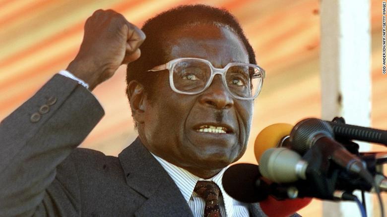 Zimbabwean President Robert Mugabe addresses Zanu PF followers at a rally in 2000.