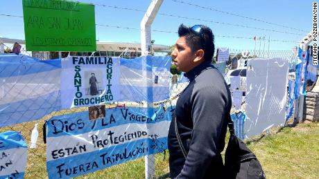 Outside the Mar del Plata navy base, Federico Ibañez says he hopes for good news about his brother.