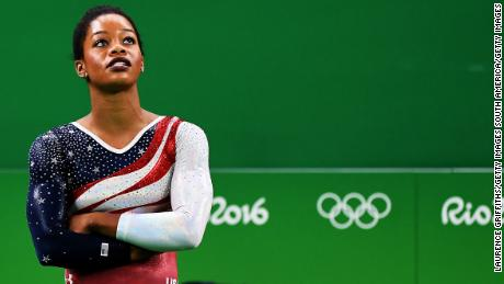 US gymnast Gabby Douglas won gold in the team event at the 2016 Rio Olympics.