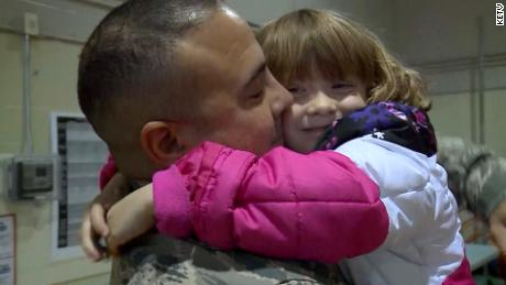 See airman's tearful reunion with daughter