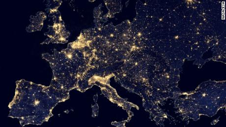 Europe has a network of bright city lights, as shown in this image acquired in 2012.