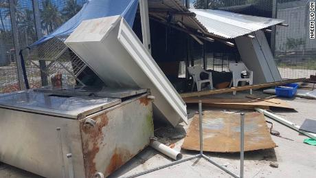 Damaged property in the Manus island refugee camp on Thursday November 23. Asylum seekers who remain in the shuttered camp claim that police caused the damage.