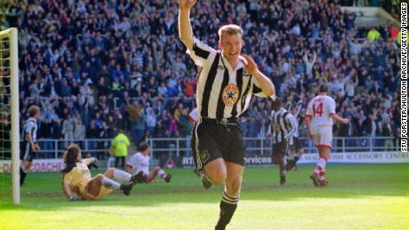 Newcastle striker Alan Shearer celebrates after scoring in the 77th against Sunderland  on April 5, 1997.