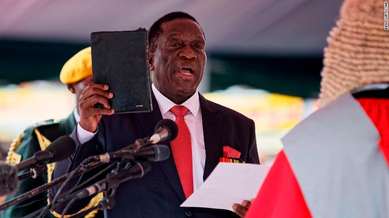 Emmerson Mnangagwa takes the oath of office in Harare on Friday.