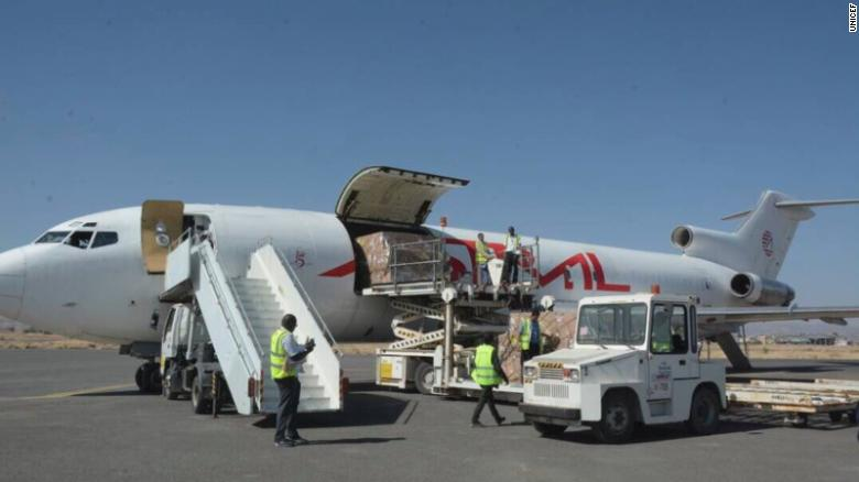 Planes carrying aid arrived Saturday in war-torn Yemen.