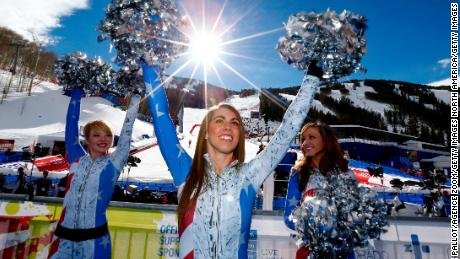 American fans cheer during a FIS Alpine World Ski Championship event.