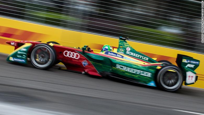 ABT Schaeffler Audi Sport driver Lucas di Grassi of Brazil takes a corner during the Formula E championship in Hong Kong on October 9, 2016. / AFP / Anthony WALLACE        (Photo credit should read ANTHONY WALLACE/AFP/Getty Images)