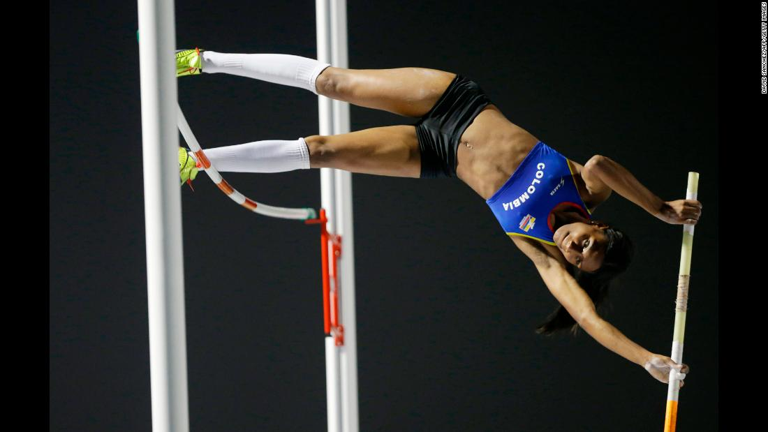 Colombian pole vaulter Katherine Castillo competes in the Bolivarian Games on Tuesday, November 21.